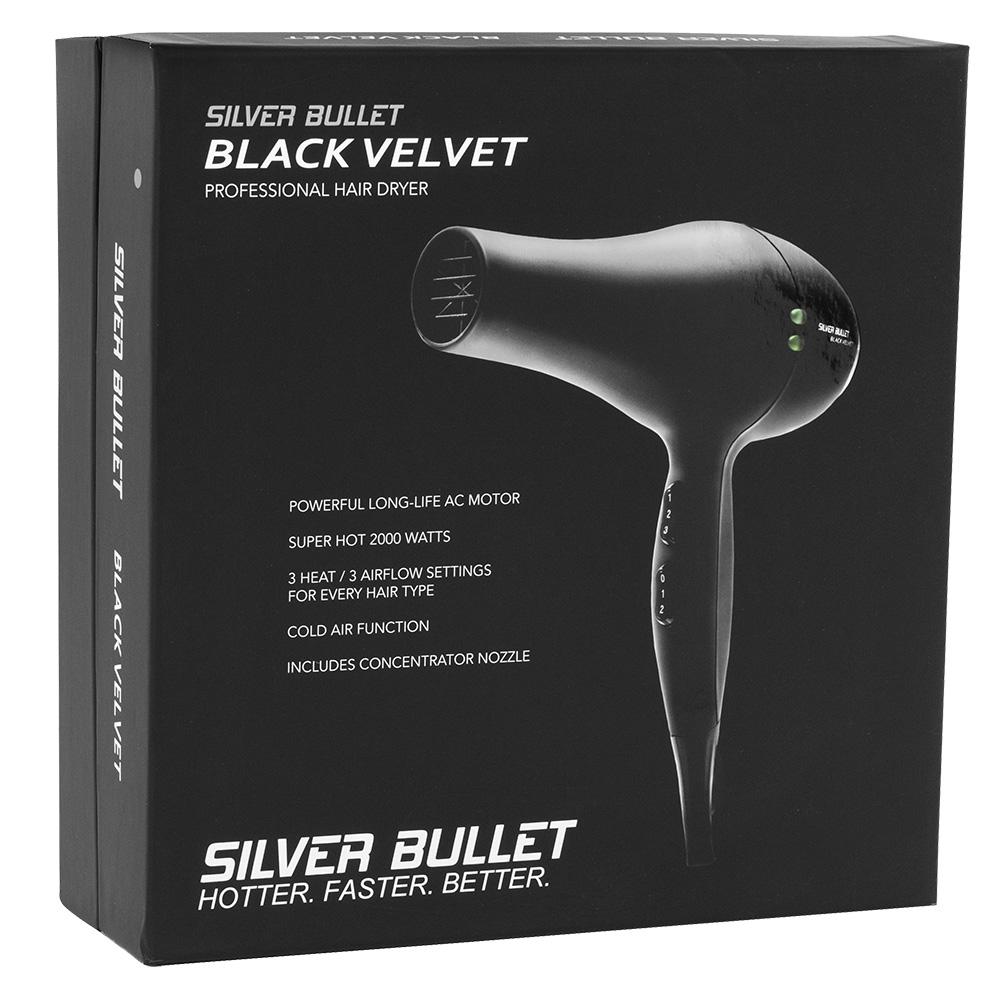 Silver Bullet Black Velvet Hair Dryer Packaging