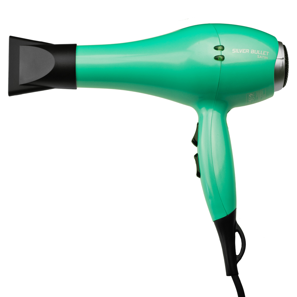 Silver Bullet Satin Hair Dryer in Aqua with nozzle