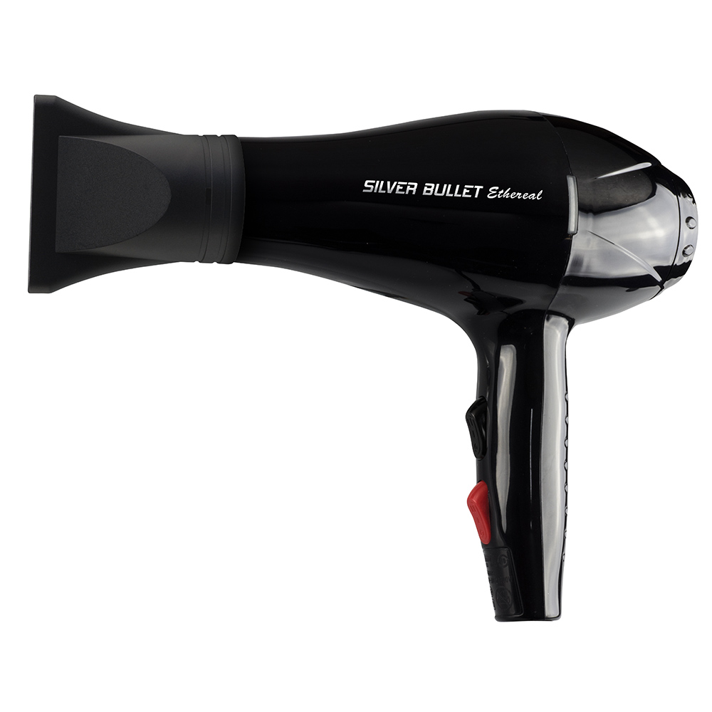 Silver Bullet Ethereal Hair Dryer with nozzle attached