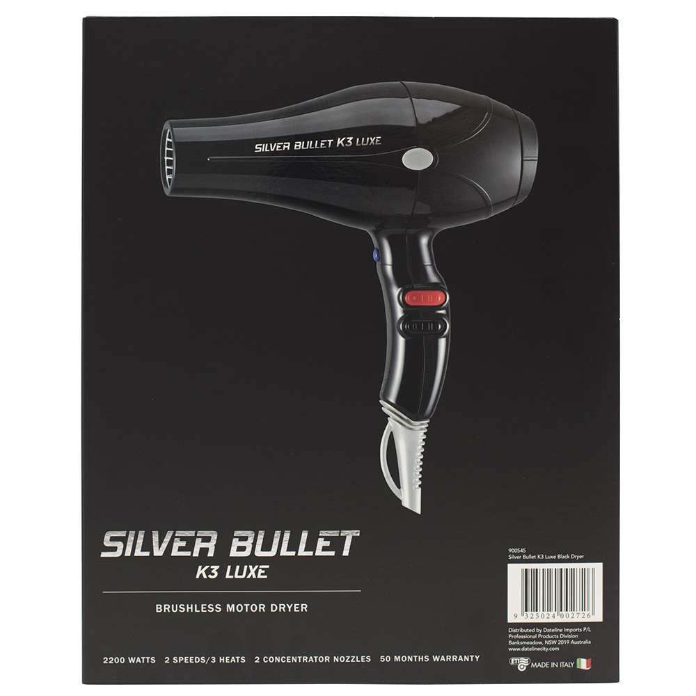 Silver Bullet K3 Luxe Brushless Motor Hair Dryer Features