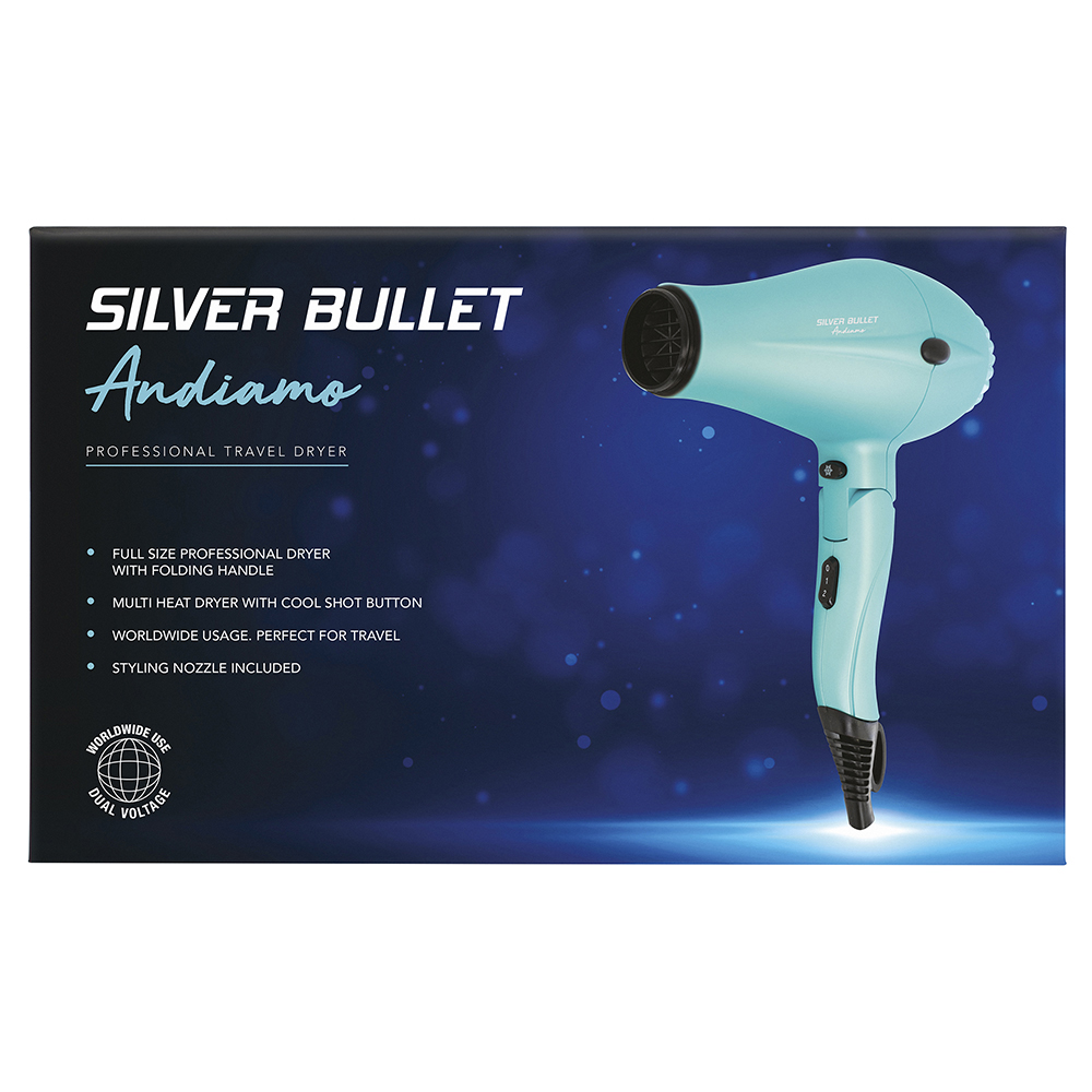 Silver Bullet Andiamo Foldable Travel Hair Dryer Packaging
