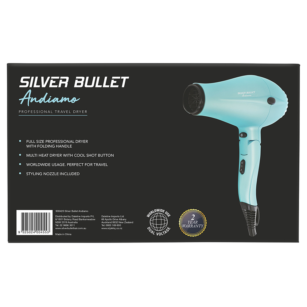 Silver Bullet Andiamo Foldable Travel Hair Dryer Back Packaging