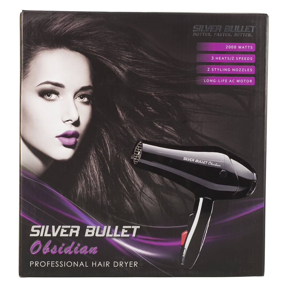 Silver Bullet Obsidian Hair Dryer Packaging