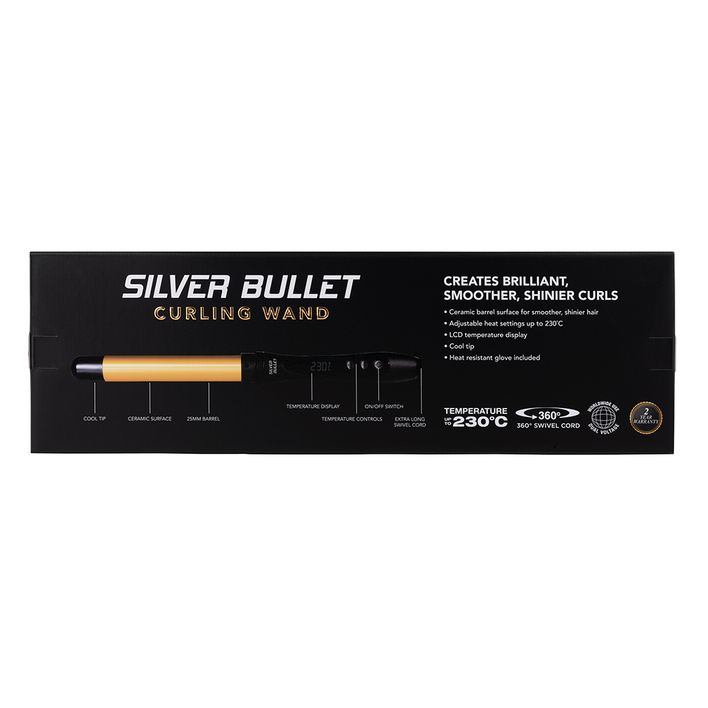 Silver Bullet Fastlane Curling Wand packaging features