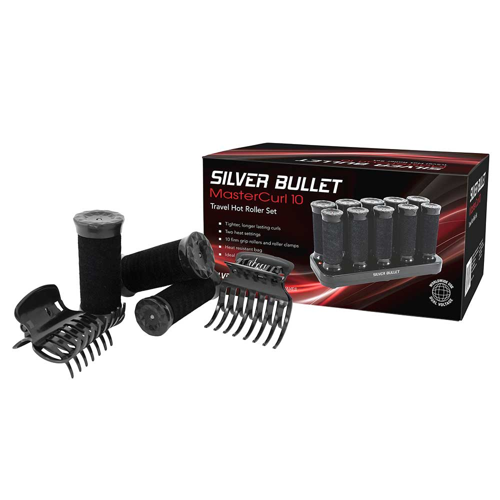 Silver Bullet MasterCurl 10 Travel Hot Roller Set Packaging Accessories