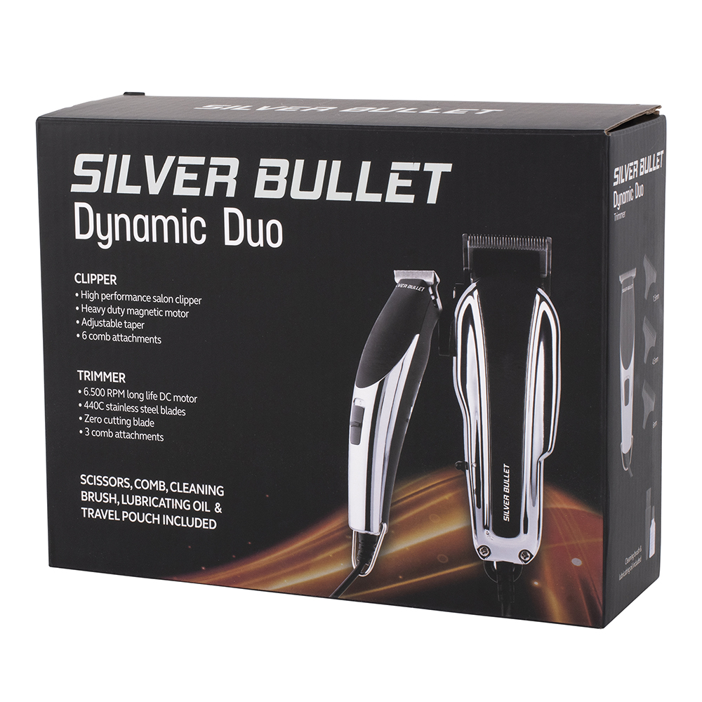 Silver Bullet Dynamic Duo Hair Trimmer and Clipper Set packaging