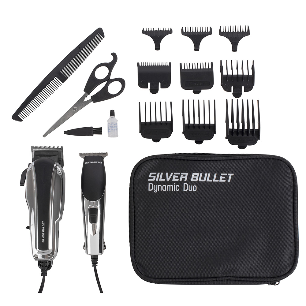 Silver Bullet Dynamic Duo Hair Trimmer and Clipper Set accessories