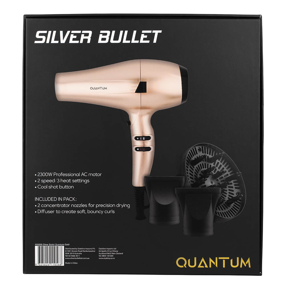 Silver Bullet Quantum Hair Dryer Gold detail packaging